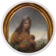 Young Mother Of Urbino Round Beach Towel