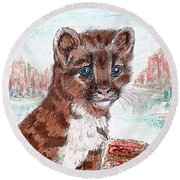 Young Mountain Lion Round Beach Towel