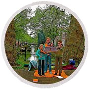 Young Musicians On Orange Day By A Canal In Enkhuizen-netherland Round Beach Towel