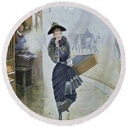 Young Parisian Hatmaker Round Beach Towel by Jean Beraud