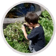 Young Photographer Round Beach Towel
