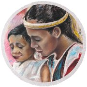 Young Polynesian Mama With Child Round Beach Towel