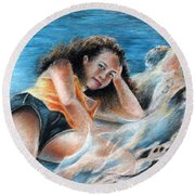 Young Tahitian Mermaid Round Beach Towel