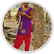 Young Tharu Village Woman In Traditional Nepali Clothing-nepal  Round Beach Towel