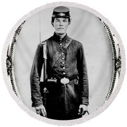 Young Union Soldier Round Beach Towel