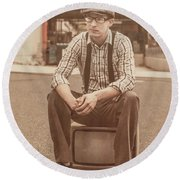 Young Vintage Man Seated On Old Tv Round Beach Towel