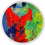 Young Woman 6431 Round Beach Towel