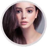 Young Woman Anime Style Beauty Portrait With Beautiful Large Gra Round Beach Towel