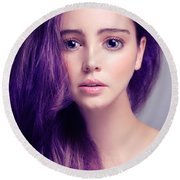 Young Woman Anime Style Beauty Portrait With Large Eyes And Purp Round Beach Towel