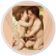 Young Woman Contemplating Two Embracing Children Detail II Round Beach Towel by William Bouguereau
