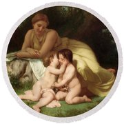 Young Woman Contemplating Two Embracing Children Round Beach Towel by William Bouguereau