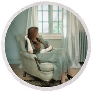 Young Woman In A Chair Round Beach Towel