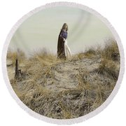 Young Woman In Cloak On A Hill Round Beach Towel