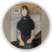 Young Woman Of The People Round Beach Towel