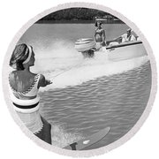 Young Woman Slalom Water Skis Round Beach Towel