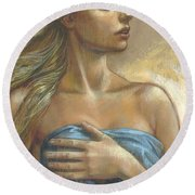 Young Woman With Blue Drape Crop Round Beach Towel