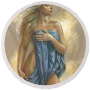 Young Woman With Blue Drape Round Beach Towel