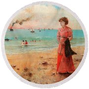 Young Woman With Red Umbrella Round Beach Towel