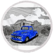 Your 1952 F 100 Pick Up In N M  Round Beach Towel