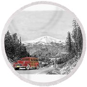 1946 Ford Special Deluxe Woody On Apache Summit Round Beach Towel