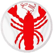 York Maine Lobster With Feelers Round Beach Towel