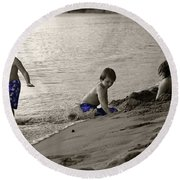 Youth At The Beach Round Beach Towel