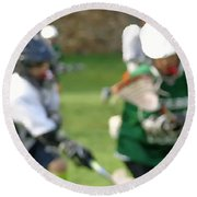 Youth Lacrosse Round Beach Towel