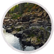 Yuba River Rocks Round Beach Towel