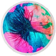 Yucca Abstract Pink Blue Green Round Beach Towel