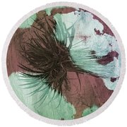 Yucca Abstract Sage And Mauve Round Beach Towel