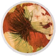 Yucca Abstract Warm Round Beach Towel