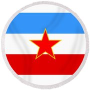 Yugoslavia Flag Round Beach Towel