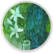 Yupo Flower On Chair Round Beach Towel