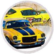 Yellow Z28 Camaro Round Beach Towel