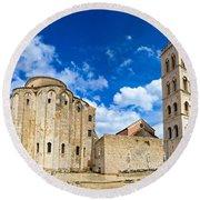 Zadar Cathedral Famous Landmark Of Croatia Round Beach Towel