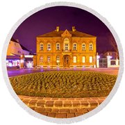 Zagreb Street Architecture Night Scene Round Beach Towel