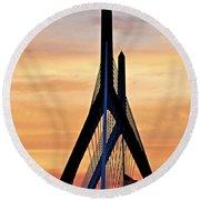 Zakim Bridge In Boston Round Beach Towel