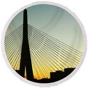 Zakim Bridge Silhouette Round Beach Towel