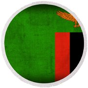 Zambia Flag Distressed Vintage Finish Round Beach Towel