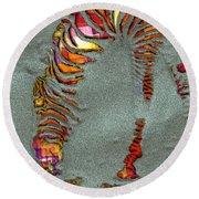 Zebra Art - 64spc Round Beach Towel