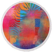 Zebra Art - Mtc077b Round Beach Towel