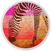 Zebra Art - T1cv2blinb Round Beach Towel