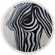 Zebra Body Paint Round Beach Towel