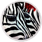 Zebra Couple Round Beach Towel