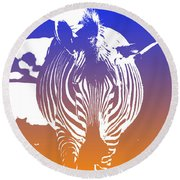 Zebra Crossing V6 Round Beach Towel