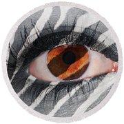 Zebra Eye Round Beach Towel
