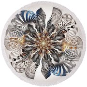 Zebra Flower Round Beach Towel