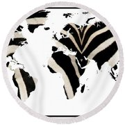 Zebra Fur World Map Round Beach Towel