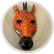 Zebra Head Mask Round Beach Towel