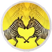 Zebra Heart Round Beach Towel